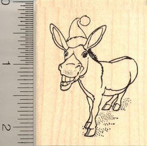 Christmas Donkey Rubber Stamp