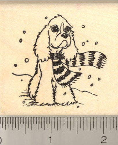 Cocker Spaniel in the Snow Rubber Stamp