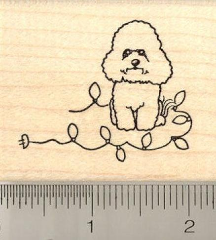 Christmas Bichon Frise Rubber Stamp