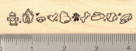 Dog Themed Border Rubber Stamp