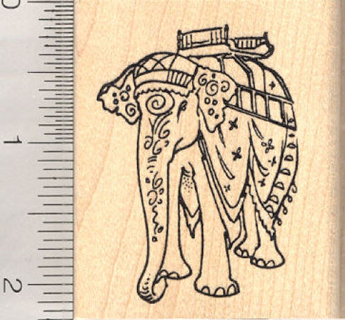 Caparisoned Indian Elephant Rubber Stamp
