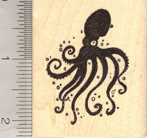 Inky Octopus Rubber Stamp