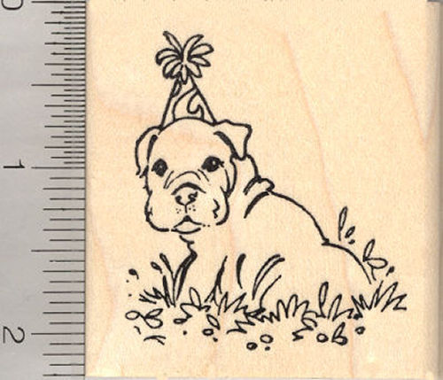 Birthday Bulldog Puppy Dog Rubber Stamp