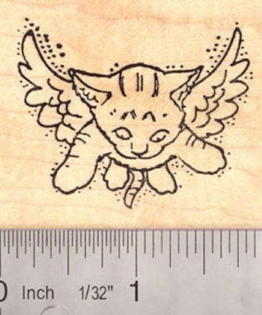 Angel Kitty Cat Rubber Stamp