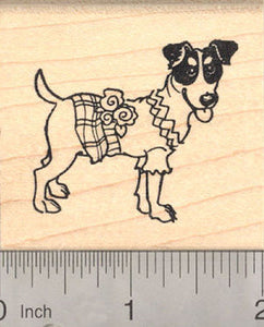 Parson Russell Terrier in Dress Rubber Stamp