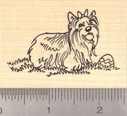 Yorkie Easter Egg Hunt Rubber Stamp (Yorkshire Terrier Dog)