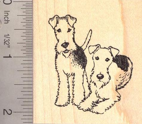 Fox Terrier Pair Rubber Stamp