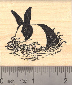 Black and White Dutch Rabbit Rubber Stamp