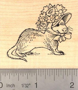 Easter Ferret in Bonnet Rubber Stamp