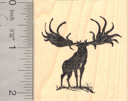 Irish Elk Rubber Stamp (Extinct Megafauna)