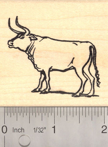 Auroch Cattle Rubber Stamp (Extinct Megafauna)