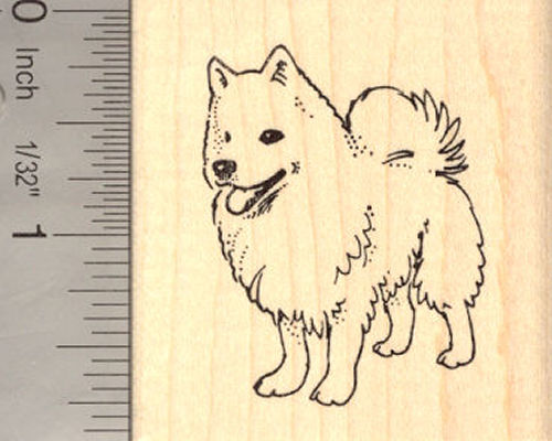 American Eskimo Dog Rubber Stamp