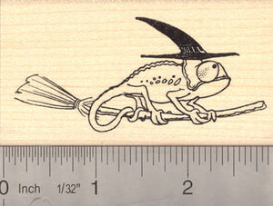 Chameleon Witch, Halloween Rubber Stamp