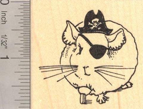 Chinchilla Pirate, Halloween Rubber Stamp