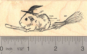 Guinea Pig Witch on Broomstick, Halloween Rubber Stamp