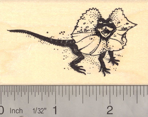 Frilled Lizard Reptile Rubber Stamp Australian Wildlife