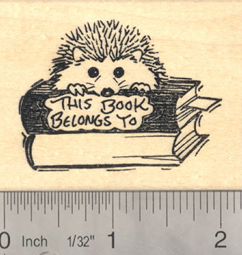 Hedgehog Bookplate Rubber Stamp