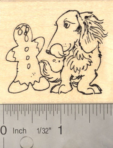 Dachshund Dog Christmas Rubber Stamp (With Gingerbread Boy)