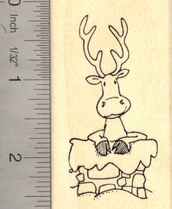 Christmas Reindeer in Chimney Rubber Stamp