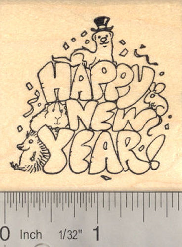 Happy New Year Multi-pet Rubber Stamp, Ferret, Rat, Hedgehog, Guinea Pig