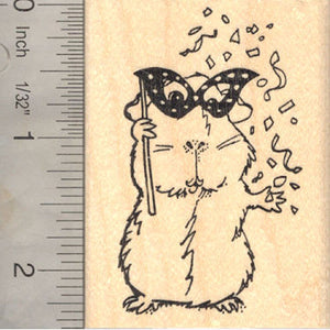 New Year Guinea Pig Rubber Stamp, Mardi Gras, Party