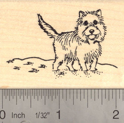 Cairn Terrier in Snow Winter Rubber Stamp