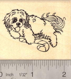 Christmas Dog with Candy Cane Rubber Stamp