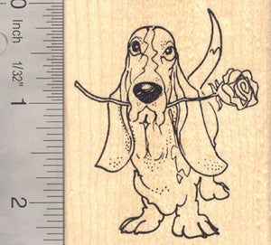 Basset Hound Dog with Rose, Valentine's Day Rubber Stamp