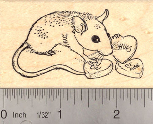 Valentine's Day Mouse Rubber Stamp, Rat