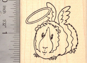 Angel Guinea Pig Rubber Stamp, with Halo