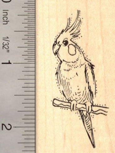 Cockatiel Rubber Stamp Australian Cockatoo AKA Quarrion, Weiro