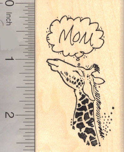 Mother's Day Giraffe Rubber Stamp