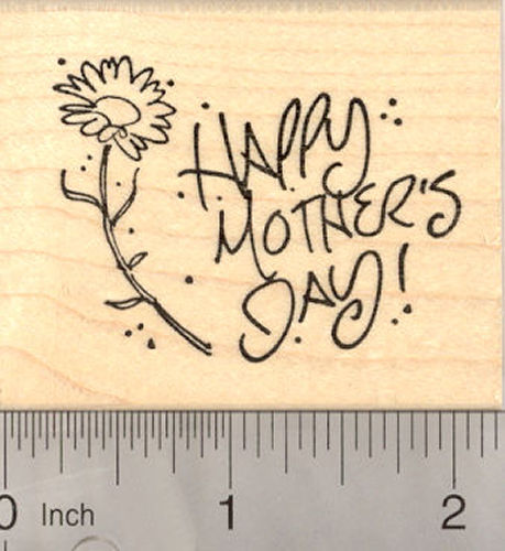 Happy Mother's Day Flower Rubber Stamp