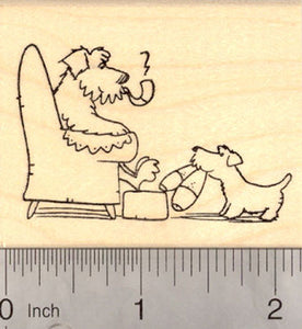 Dog Bringing his Father Slippers, Father's Day Rubber Stamp