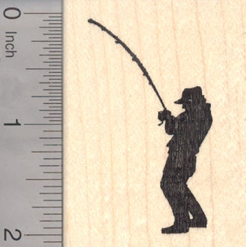 Fishing Fisherman Silhouette Rubber Stamp, Reeling in a fish