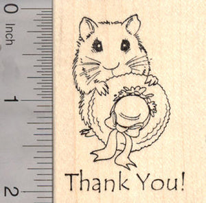 Hamster Thank You Rubber Stamp