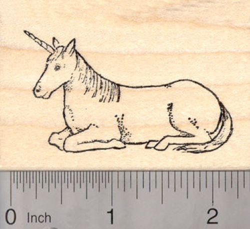 Unicorn Rubber Stamp, Lying Down