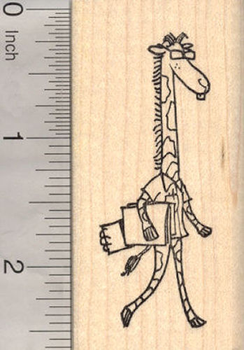 Nerdy Giraffe Rubber Stamp, Back to School, College Professor, Veterinarian