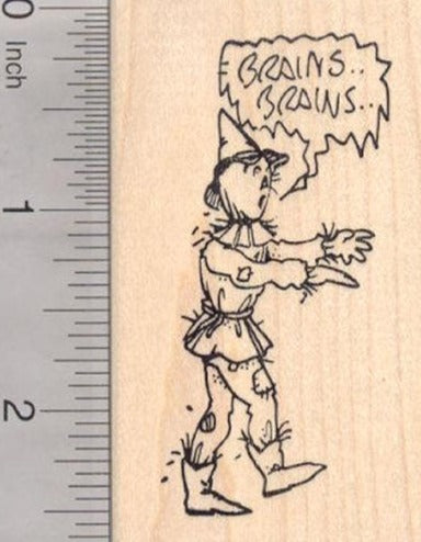 Halloween Scarecrow Zombie Rubber Stamp, Brains