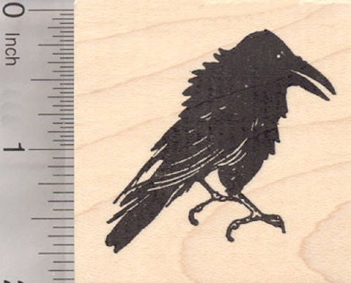 Raven Bird Rubber Stamp, Black Crow