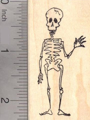 Friendly Halloween Skeleton, Day of the Dead Rubber Stamp, Día de los Muertos