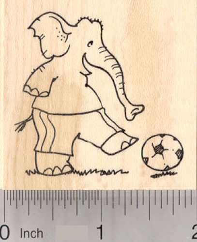 Elephant playing Soccer Rubber Stamp, Sports