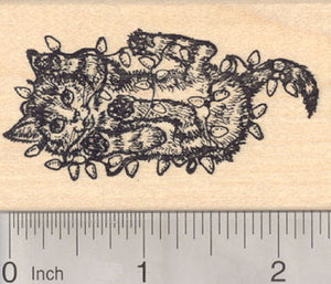 Christmas Cat Tangled in Tree Lights Rubber Stamp