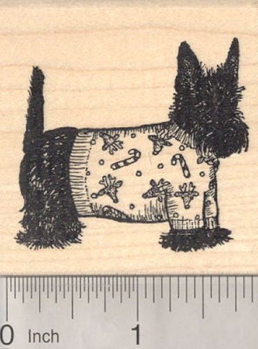 Christmas Scottish Terrier Dog in Sweater Rubber Stamp, Scottie, Scotty