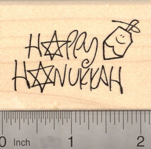 Happy Hanukkah with Dreidel Rubber Stamp, Chanukah Festival of Lights