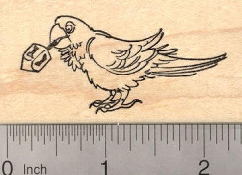 Hanukkah Parrot Bird with Dreidel Rubber Stamp, Chanukah Festival of Lights