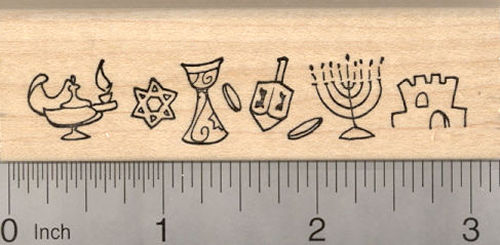 Hanukkah Border Rubber Stamp, featuring Star of David, Dreidel, Menorah, Chanukah Festival of Lights
