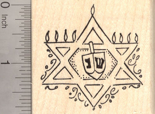 Star of David Menorah Rubber Stamp, Hanukkah, Chanukah Festival of Lights