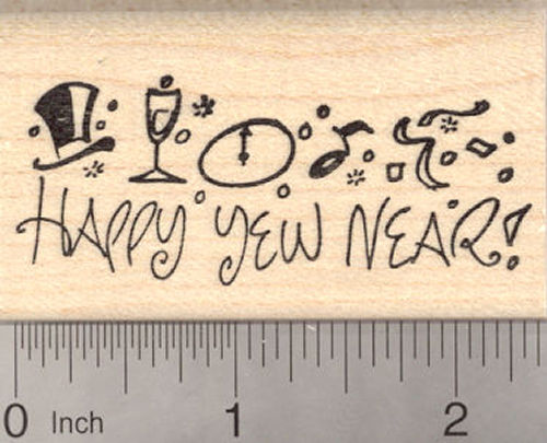 Happy Yew Near, New Year Rubber Stamp