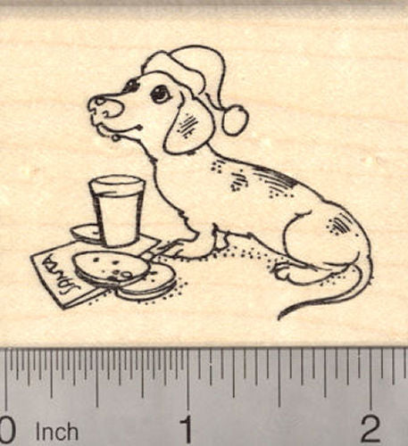 Christmas Dachshund Dog Waiting for Santa Claus Rubber Stamp